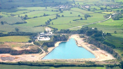 Aerial photo of Slickstones Quarry, Cromhall