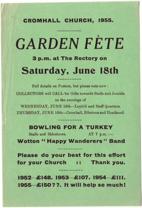 Cromhall Church Garden Fete flyer, 1955
