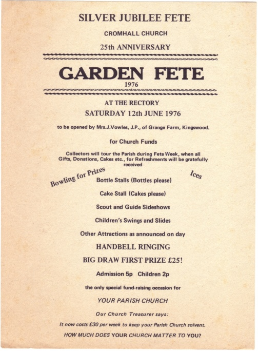 Cromhall Church Garden Fete flyer, 1976