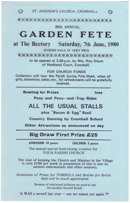 Cromhall Church Garden Fete flyer, 1980