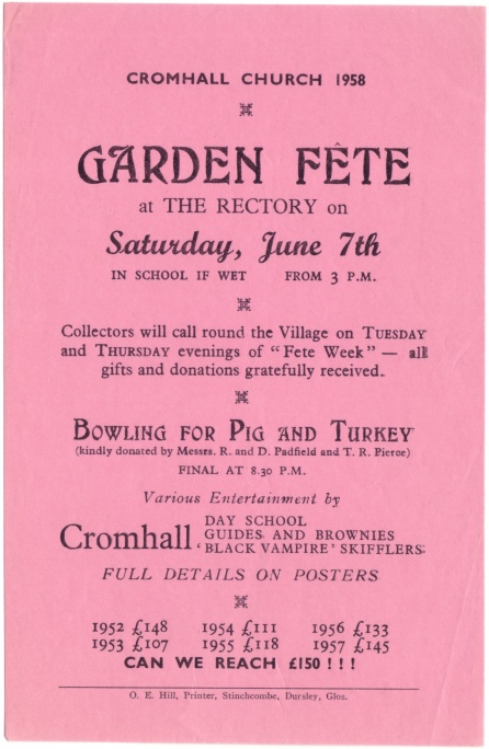 Cromhall Church Garden Fete flyer, 1958