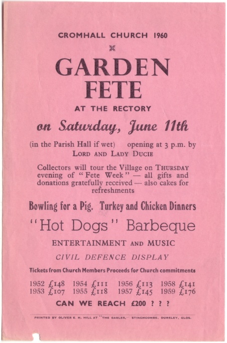 Cromhall Church Garden Fete flyer, 1960