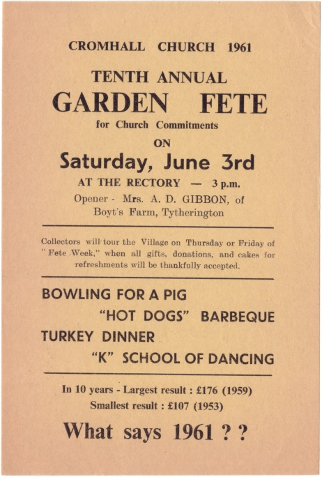 Cromhall Church Garden Fete flyer, 1961