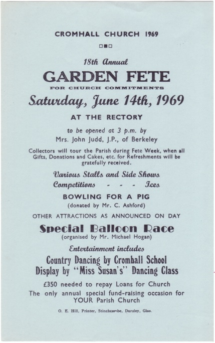 Cromhall Church Garden Fete flyer, 1969