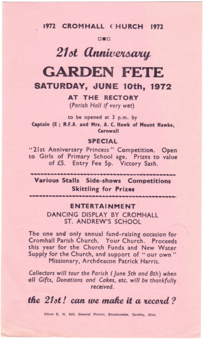 Cromhall Church Garden Fete flyer, 1972