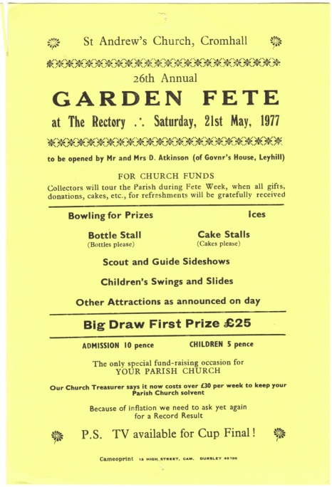 Cromhall Church Garden Fete flyer, 1977