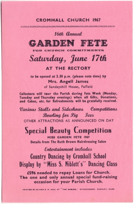 Cromhall Church Garden Fete flyer, 1967