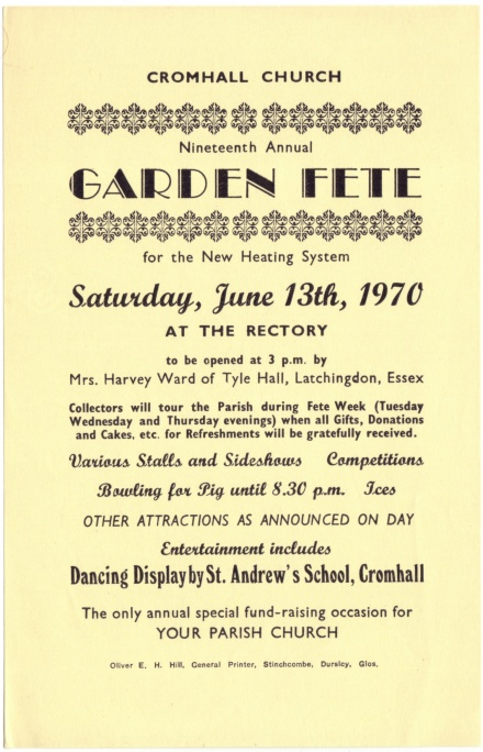 Cromhall Church Garden Fete flyer, 1970