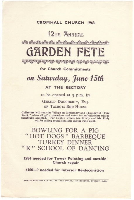 Cromhall Church Garden Fete flyer, 1963