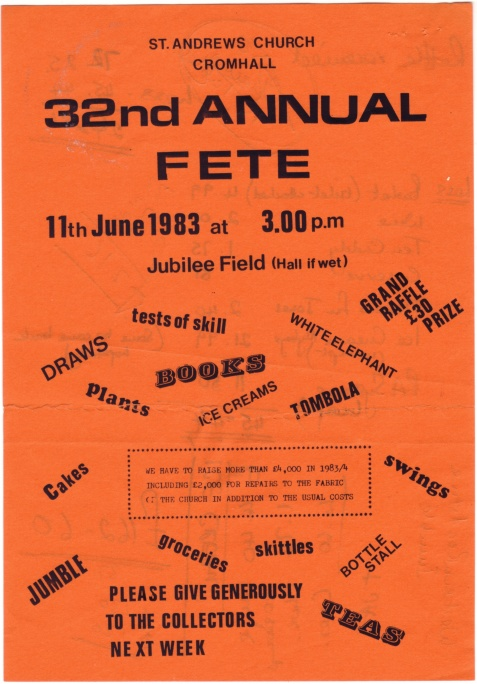 Cromhall Church Garden Fete flyer, 1983