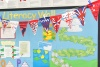 Jubilee flags in school