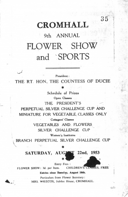 Cromhall Show schedule, 1953 - cover