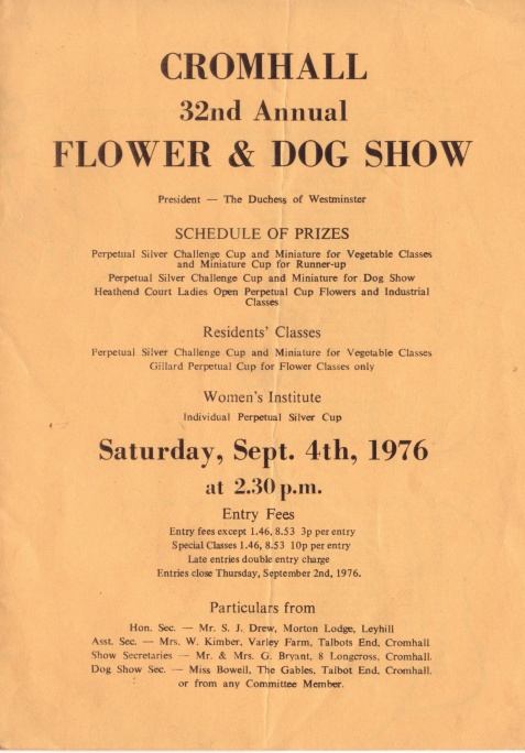 Cromhall Show schedule, 1976