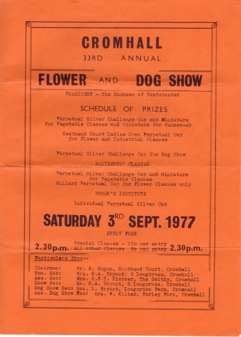 Cromhall Show schedule, 1977