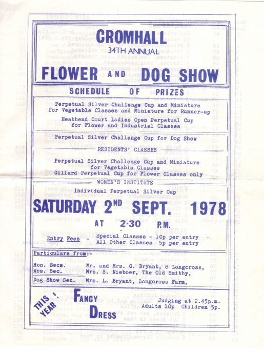 Cromhall Show schedule, 1978