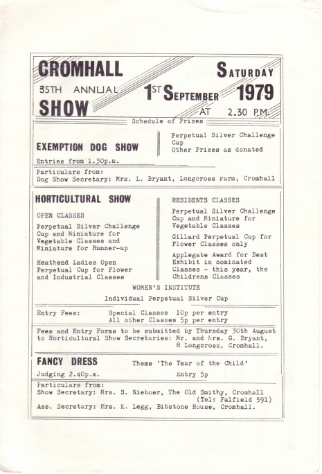 Cromhall Show schedule, 1979
