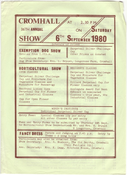 Cromhall Show schedule, 1980