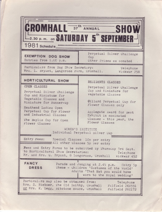 Cromhall Show schedule, 1981