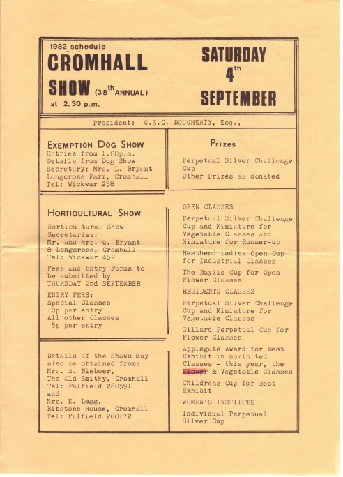 Cromhall Show schedule, 1982