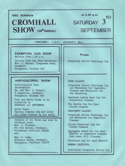 Cromhall Show schedule, 1983