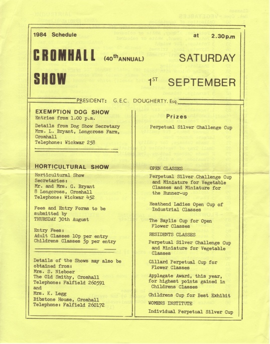 Cromhall Show schedule, 1984