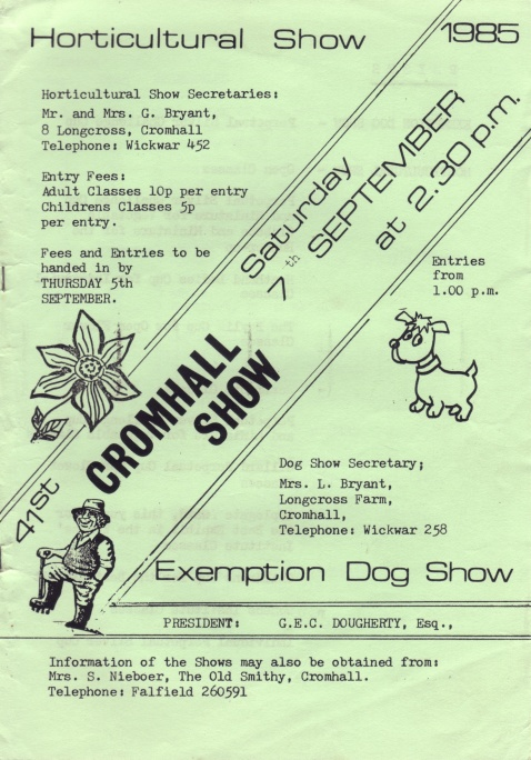 Cromhall Show schedule, 1985