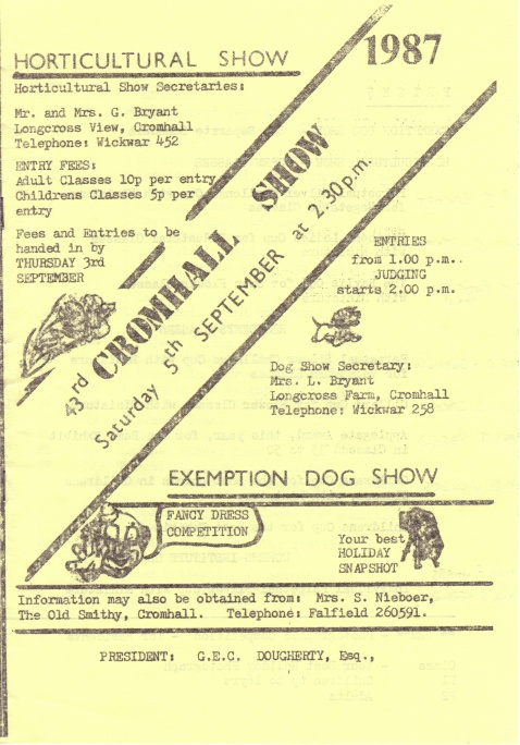 Cromhall Show schedule, 1987