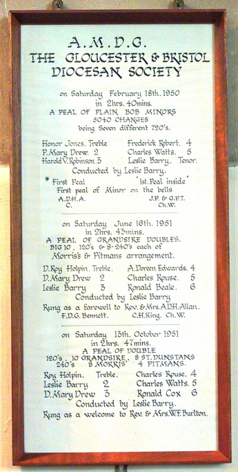 Bellringing commemoration, 1950/1951