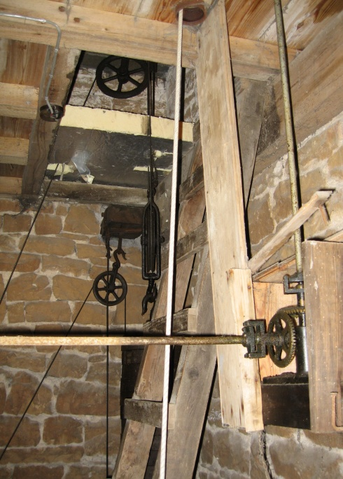 Church clock pulleys, weights and drive