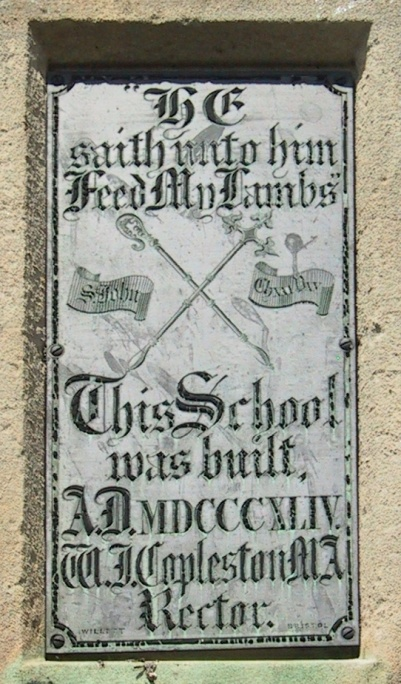 Plaque on outside of St. Andrew's School