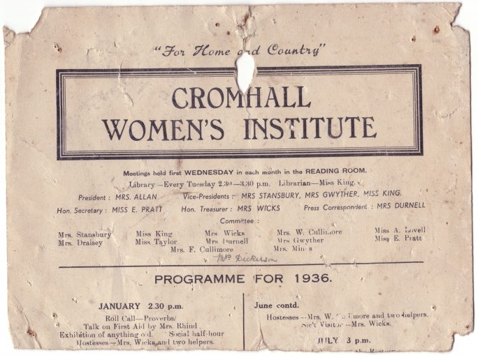 Women's Institute programme for 1936